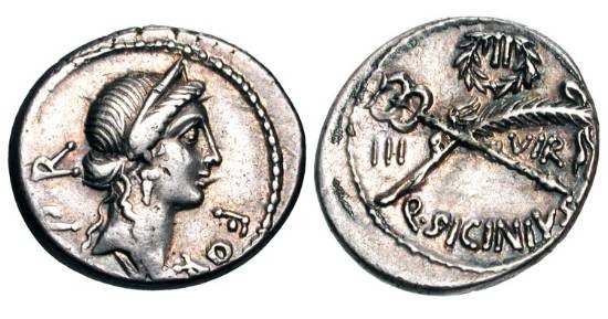 Ancient Coins - ROMAN REPUBLIC.  Q. Sicinius, 49 BC.  AR Denarius.  Diademed head of Fortuna / Wreath above crossed caduceus and palm.  Sicinia.5.  Toned aXF.  Scarce.