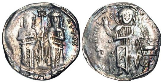 Ancient Coins - BYZANTINE EMPIRE. Andronicus II and Michael IX,  1295-1320 AD.  AR Basilikon.  Christ enthroned / Two emperors standing.  S.2402.  Toned VF,  copies the grosso of Venice.