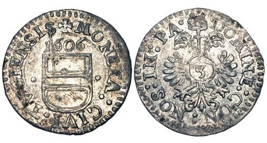 World Coins - SWITZERLAND,  Zug.  AR Groschen (1.37 gm) 1606.  Date above shield of arms / Imperial eagle.  DT.1251  HMZ.1076  Near Mint.