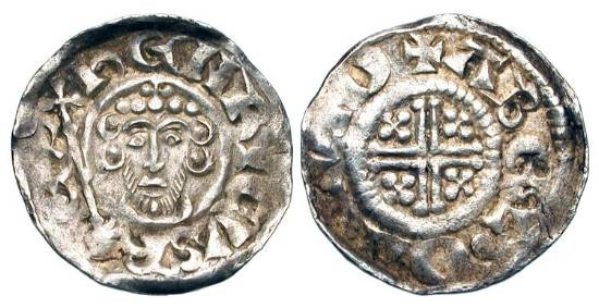 World Coins - ENGLAND.  John, 1199-1216 AD.  AR Penny (1.48 gm), cl. 5a2, of London, ABEL.  Crowned bust facing with sceptre / Short voided cross with crosslets.  S.1353.  Toned XF, rolled edge.