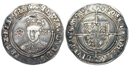 World Coins - ENGLAND.  Edward VI, 1547-1553 AD.  AR Shilling (6.11 gm) of London, i. m. tun.  Crowned draped bust facing / Shield of arms on long cross.  S.2482.  Toned VF.