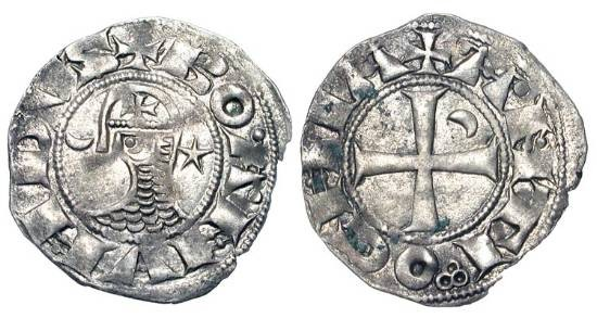 World Coins - ANTIOCH.  Bohemund III, 1149-1201 AD.  AR Denier, cl. E.  Head in helmet and chain-mail between crescent and star / Cross, cresent in one angle.  MPS.69.  Met.400.  Toned aXF.