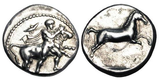 Ancient Coins - THESSALY, Larissa.  430-410 BC.  AR Drachm (6.09 gm).  Youth wrestling bull / Prancing horse.  Hermann.Gr.III F, Pl.III.4.  Toned aXF.