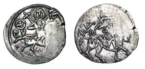 Ancient Coins - TREBIZOND EMPIRE.  Alexios II, 1297-1330 AD.  AR Asper (2.26 gm).  St. Eugenios on horseback  / Alexios on horseback.  S.2619.  aXF, usual weak spots,  flan crack.