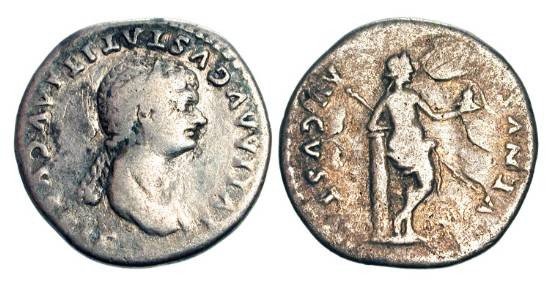 Ancient Coins - JULIA TITI, daughter of Titus and mistress of Domitian, died 91 AD.  AR  Denarius of Rome.  Draped bust / Venus standing, leaning on cippus with helmet and spear. Toned aVF.  …