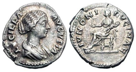 Ancient Coins - LUCILLA, wife of Verus, 161-169 AD.  AR Denarius (3.33 gm).  Draped bust / Juno seated with flower and child.  RSC.36.  RIC.770.  Toned aXF.
