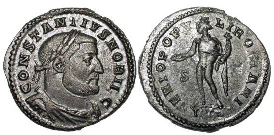 Ancient Coins - CONSTANTIUS I  296-305 AD.  Æ Follis of Treveri as Caesar, 303-305 AD. Draped, cuirassed bust / Genius standing holding patera and cornucopia.  RIC.595a.  aXF, dark brown patina.