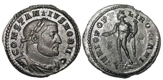Ancient Coins - CONSTANTIUS I  296-305 AD.  Æ Follis of Treveri as Caesar, 303-305 AD. Draped, cuirassed bust / Genius standing holding patera and cornucopia.  RIC.595a.  aXF, dark brown patina.