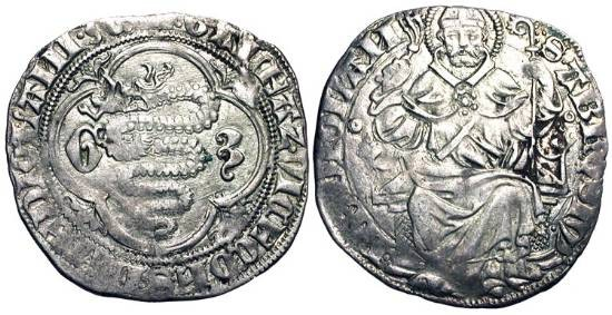 World Coins - ITALY, Milan.  Gian Galeazzo Visconti, Duke, 1395-1402.  AR Pegione.  Biscia in quatrefoil / Saint Ambrose enthroned facing, holding crosier and whip.  Bi.1475.   Toned VF+