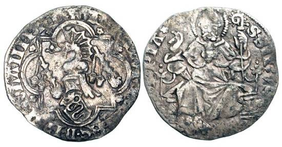 World Coins - ITALY, Pavia.  Galeazzo II, 1354-1378 AD.  AR Pegoine (2.04 gm).  Crested helmet / St. Ambrose seated.  B.1844.  Toned VF.