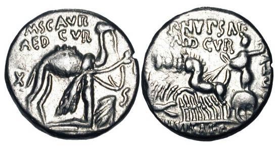 Ancient Coins - ROMAN REPUBLIC.  M. Aemilius Scaurus, 58 BC.  AR Denarius (3.99 gm).  Camel, King Aretas kneeling in foreground / Jupiter in quadriga.  Cr.422/1b.  Aemilia.8.  Toned VF+.