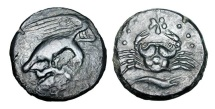 Ancient Coins - SICILY, Akragas.  425-406 BC.  Æ Hemilitron.  Rare.