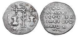 Ancient Coins - BYZANTINE EMPIRE.  Maria & Michael VII, 1071-1078 AD.  AR Miliaresion.  Rare.
