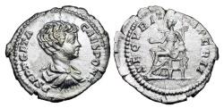 Ancient Coins - GETA, 209-212 AD.  AR Denarius, 200-202.