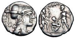 Ancient Coins - ROMAN REPUBLIC.  Ti Veturius, 137 BC.  AR Denarius.