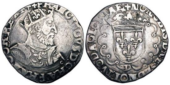 World Coins - FRANCE, Valois.  François I, 1515-1547 AD.  AR Teston, 15th type, of Lyon, pt. 12, D.  F= François Guilhem, mm 1540-1547.  Crowned bearded armored bust / Crowned arms.  DuP.904.