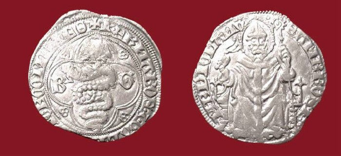 World Coins - ITALY, Milan.  Galeazzo and Barnabo Visconti, 1355-1378 AD. AR Pegione.  Serpent / St. Ambrose.