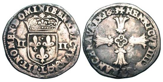 World Coins - FRANCE.  Henri IV, 1589-1610 AD.  AR Quart d'Écu (9.36 gm), Bayonne, 1603 L.  Crowned arms flanked by IIs / Floreate cross.  C.1517.  Toned aVF.