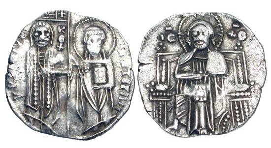 World Coins - SERBIA, Stefan VI Urosh II Milutin, King, 1282-1321 AD.  AR Grosch (2.05gm).  King standing with St. Stephen / Christ enthroned facing.  Jov.7.  VF+.  Imitates Venetian grosso.