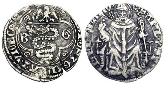 World Coins - ITALY, Milan.  Galleazo and Bernabo Visconti, 1355-1378 AD.  AR Pegione.  Eagle over biscia in quatrefoil / St. Ambrose enthroned, holding whip and crosier.  Bi.1457.  Toned VF.