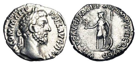 Ancient Coins - COMMODUS, 181-192 AD.  AR Denarius (2.45 gm), 186-7.  Laureate head / Virtus standing holding Victory and spear, shield behind.  RIC.160.  Toned aXF.