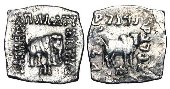 Ancient Coins - BAKTRIAN KINGDOM.  Apollodotos I, 180-160 BC.  AR Square Drachm (2.34 gm).  Elephant standing / Humped bull standing.  M.1756.  VF.
