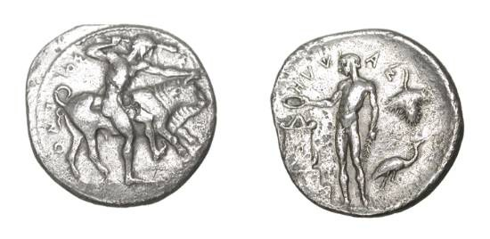 Ancient Coins - SICILY, Selinos. 466-415 BC. AR Didrachm. Herakles clubbing the  Cretan bull / River god Hypsas sacrificing at altar. SNG.ANS.702.  Toned VF, light porosity on rev.  Rare.