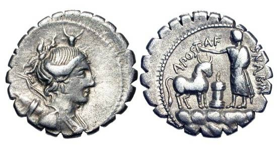 Ancient Coins - ROMAN REPUBLIC.  A. Postumius, A.f. Sp. n. Albinus, 85 BC.  AR Serrate Denarius.  Bust of Diana with bow and quiver / Priest sprinkling sacrificial ox.  Postumia.7.  Cr.372/1.