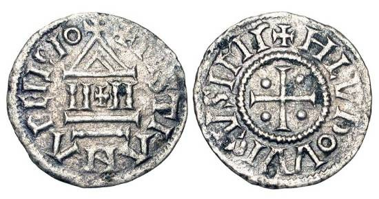 World Coins - CAROLINGIANS.  Louis I the Pius, 814-840 AD.  AR Denier (1.10 gm), 822-840  Cross with four pellets / Temple with cross at center.  MEC.794.  BMC.70.  Toned VF.