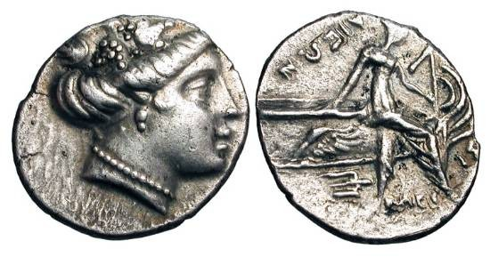 Ancient Coins - EUBOEA, Histaia.  Before 146 BC.  AR Tetrobol.  Head of Maenad wearing vine-wreath / Nymph Histaia seated on stern of galley holding mast, trident below.  Toned aXF.  …