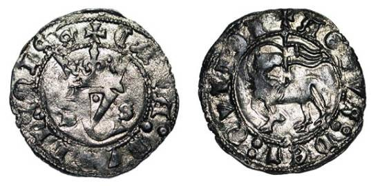 World Coins - SPAIN, Castille and Leon. Juan I, 1379-1390 AD. Billon Blanca del Agnus Dei (1.57gm), Burgos.  Crowned Y / Agnus Dei.  C&C.1418.  Toned XF.
