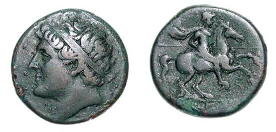 Ancient Coins - SICILY, Syracuse.  Hieron II, 275-215 BC.  Æ26 (16.62 gm).  Diademed head of Hieron / Horseman with spear.  Calc.195.R1.14.  VF, dark olive brown patina.
