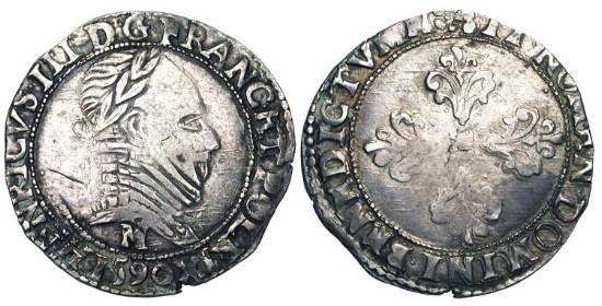 World Coins - FRANCE.  Catholic League, 1589-1596 AD.  In the name of Henri III.  AR Demi-Franc, 1590, M Toulouse.  Laureate armoured bust / Floreate cross.  DuP.1160.  Toned VF.  Rare.