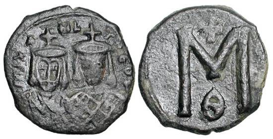 Ancient Coins - BYZANTINE EMPIRE.  Michael II, 820-829 AD.  Æ Follis (3.61 gm) of Syracuse.  Crowned facing busts of Michael & Theophilos / Large M.  S.1652.  VF.  Scarce.