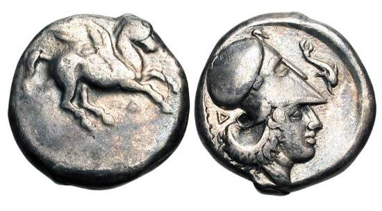 Ancient Coins - ILLYRIA, Dyrrachion.  344-300 BC.  AR Stater (8.09 gm).  Pegasos flying / Helmeted head of Athena, dolphin and club.  Calc.16.  Toned VF, b/m.