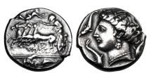 """Ancient Coins - SICULO-PUNIC.  """"Rsmlqrt"""" issue,  315-289 BC.  AR Tetradrachm."""