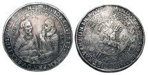 World Coins - GERMANY, Saxe-Old Gotha (Coburg-Eisenbach).  John Casimir and Johann Ernst, 1572-1633 AD. AR Taler, 1613. Armoured, confronted figures of dukes / Horseman, circle of 16 shields.  …