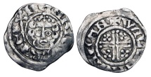 World Coins - ENGLAND.  Henry III, 1216-1272 AD.  AR Penny (1.45 gm) of Canterbury, WILLEM, class 7b.  Crowned bust / Short voided cross with pellets.  S.1356b.  Toned aVF.
