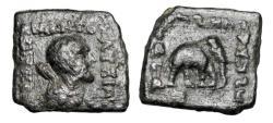 Ancient Coins - BAKTRIAN KINGDOM.  Lysias, 120-110 BC.  Square Æ Hemobol.