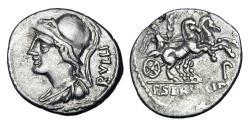 Ancient Coins - ROMAN REPUBLIC.  P. Servilius M.f. Rullus, 100 BC.  AR Denarius.