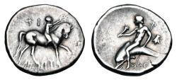 Ancient Coins - CALABRIA, Taras.  Time of  first Roman alliance, 272-235 BC.  AR Nomos.