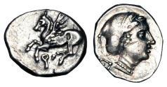 Ancient Coins - CORINTH.  350-300 BC.  AR Drachm.