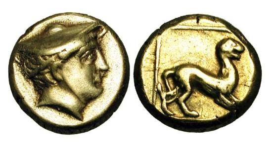 Ancient Coins - LESBOS, Mytilene.  521-478 BC.  Electrum Hekte (2.51 gm).  Head of Hermes / Mythical beast in outlined square.  Bod.83.  VF+.