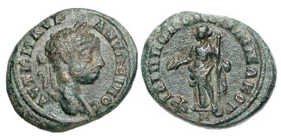 Ancient Coins - THRACE, Philippopolis.  Caracalla, 198-217 AD.  Æ19 (4.79 gm). Laureate head / Female standing with patera and staff.  BMC.42v.  VF, dark green patina.
