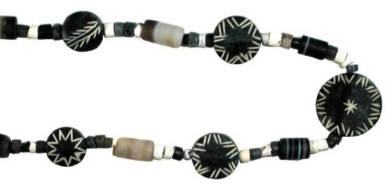 "Ancient Coins - Mixed Hardstone bead Necklace.  Central Asia, II-I Millennium BC.  Green-blue marbled stone disc beads, etched with decorations; banded agate and small stone beads.  18"" long"