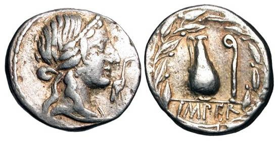 Ancient Coins - ROMAN REPUBLIC.  Q. Caecilius Metellus Pius, 81 BC.  AR Denarius (3.90 gm).  Diademed head of Pietas, stork before / Jug and lituus in wreath.  Caecilia.44.  Cr.374/2.  VF