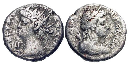 Ancient Coins - ROMAN EGYPT.  Nero, 54-68 AD.  AR Tetradrachm (11.89 gm), yr. 13.  Radiate head / Laureate bust of Apollo with quiver.  Köln.176.  Toned aVF.