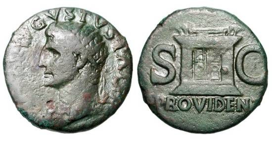 Ancient Coins - AUGUSTUS, 27 BC-14 AD.  Æ As (10.37 gm), commemorative struck  under Tiberius, 22-30.  Radiate head / Altar.  RIC.81.  aVF, olive-brown patina.