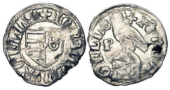 World Coins - Principality of WALLACHIA.   Radu I, 1377-1383 AD.  AR Ducat (0.57 gm).  Arms / Eagle-crested helmet.    MBR.52v.  aVF, weak spots.  Rare.