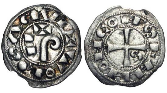 World Coins - FRANCE, Toulouse.  Raymond V-VII, 1148-1249 AD.  AR Obol (0.51 gm).  Cross with S in first angle / Degraded PAX.  DuP.1229.  D.1229.  VF+, tiny chip in margin.